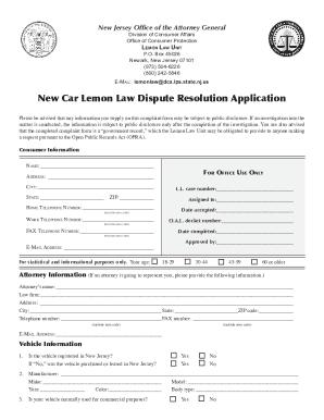 Lemon Law Nj >> Nj Lemon Law Application Form Fillable Fill Out And Sign Printable