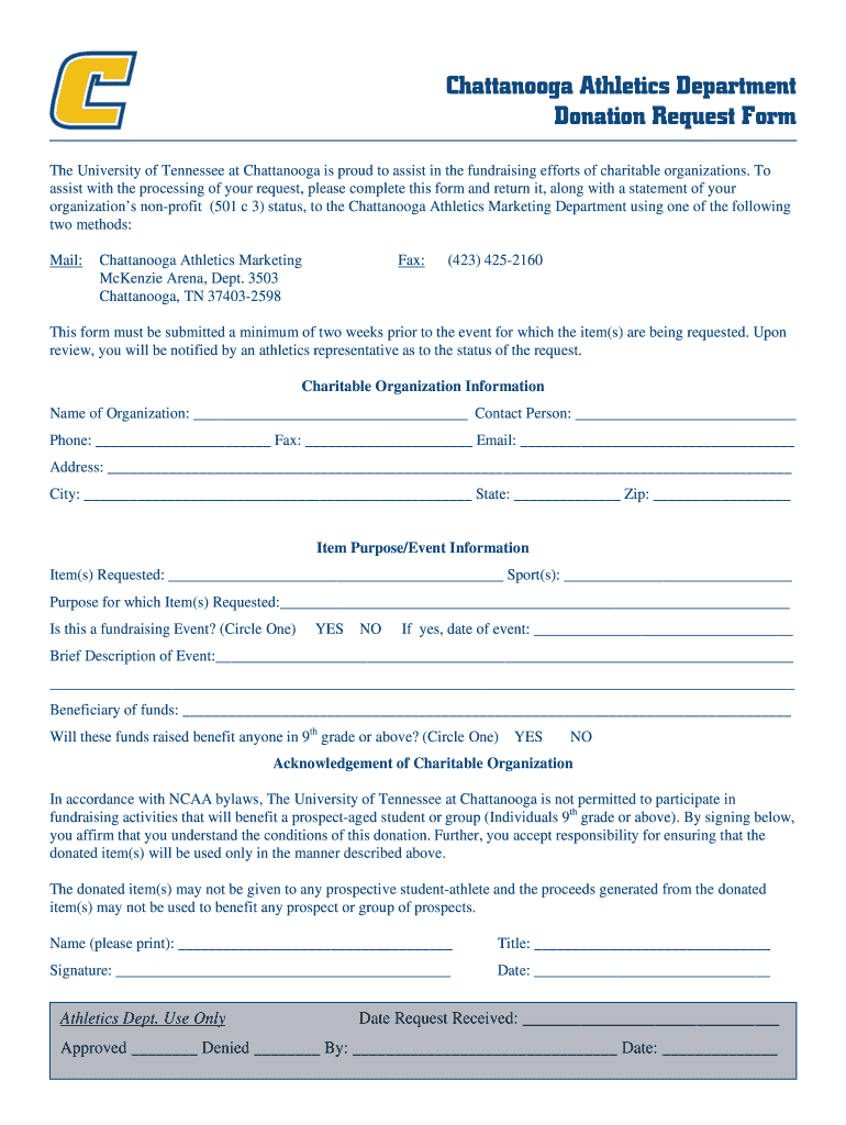 Get And Sign Chattanooga Lookouts Donation Request Form