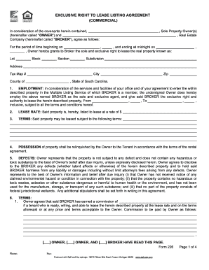 Sc Residential Lease Listing Agreement Form Fill Out And