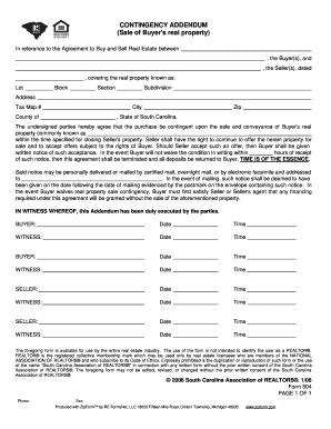 Sc Real Estate Contingency Addendum Form Fill Out And Sign