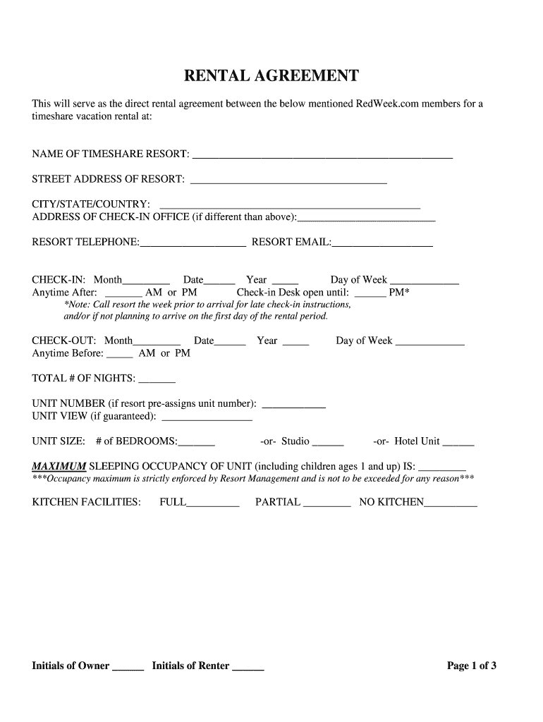 Get And Sign Redweek Rental Agreement Form
