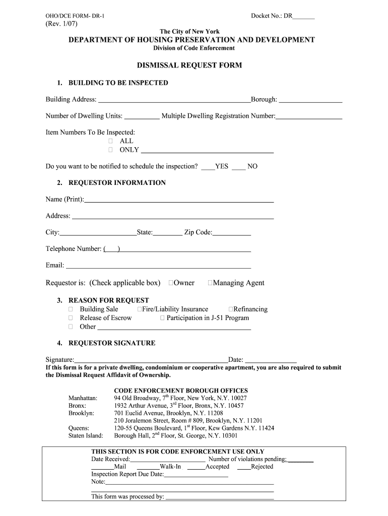 Get And Sign Hpd Dismissal Request Form 2007-2021