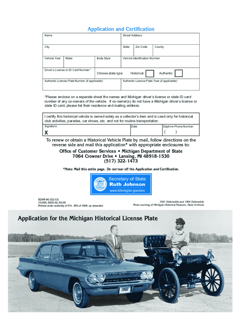 Get And Sign Application For The Michigan Historical License Plate  Michigan Form