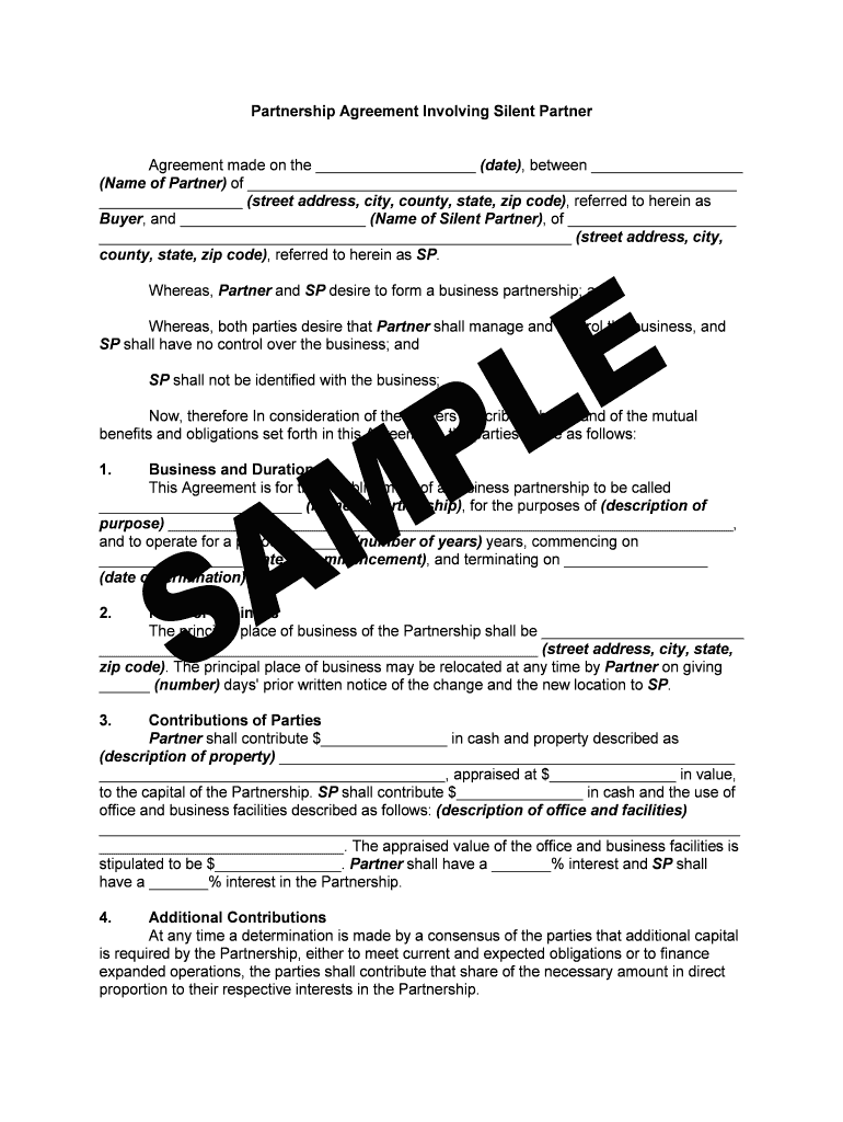Silent Partner Agreement Pdf Fill Out And Sign Printable Pdf Template Signnow