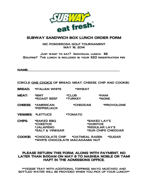 graphic regarding Subway Menu Printable named Subway lunch buy sort - Fill Out and Indicator Printable PDF