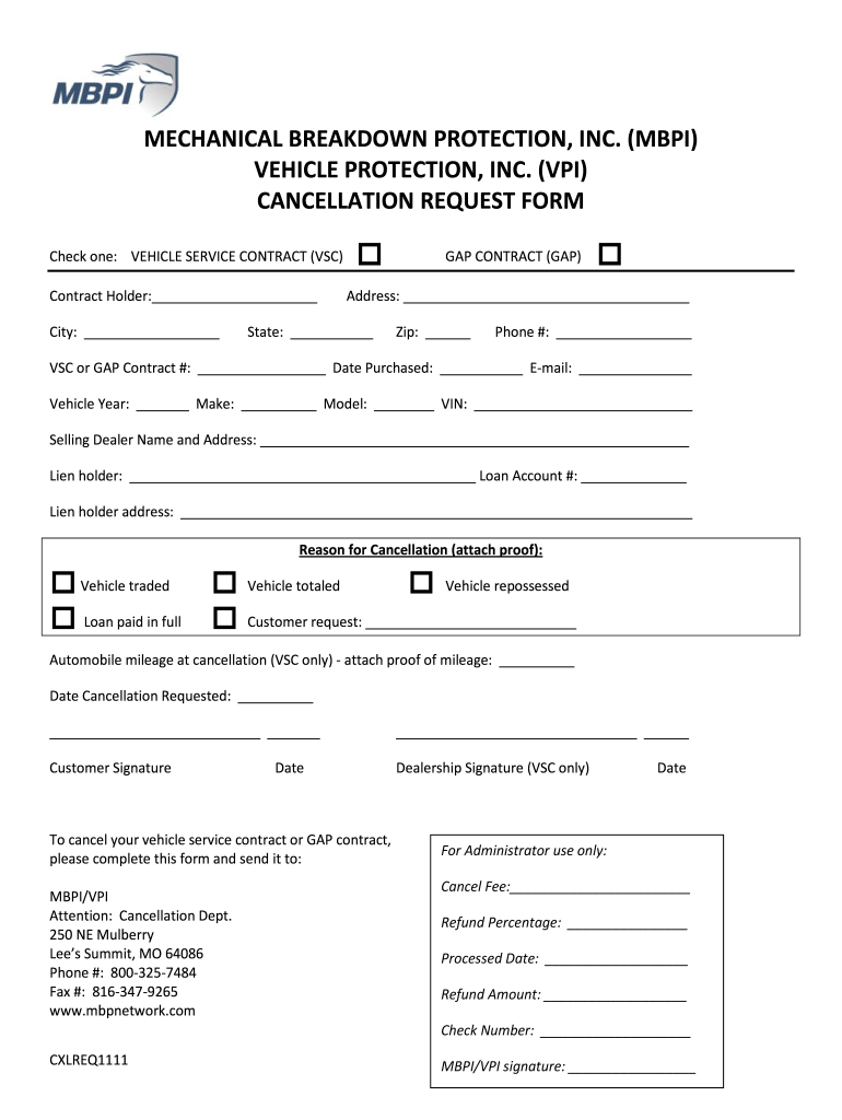 Get And Sign Cancellation Request Form Mechanical Breakdown Protection, Inc