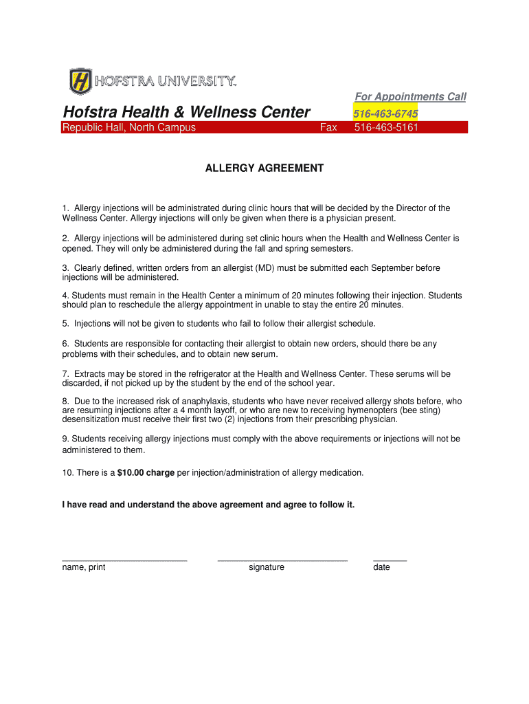 Get And Sign Hofstra Health & Wellness Center Form