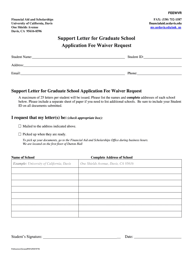 Get And Sign Support Letter For Graduate School Application Fee Waiver Form