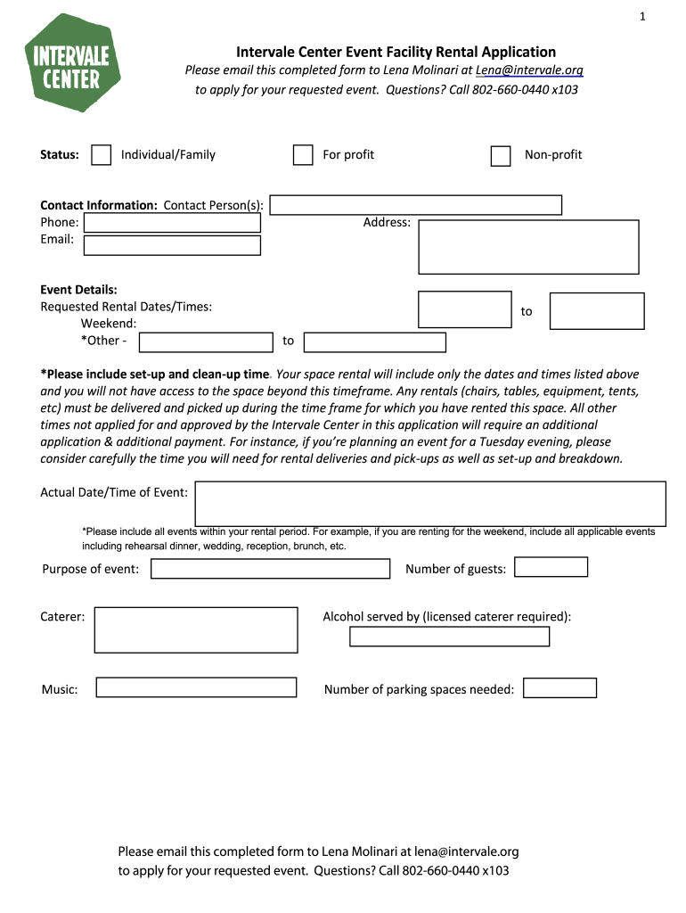 Get And Sign Intervale Center Event Facility Rental Application Form