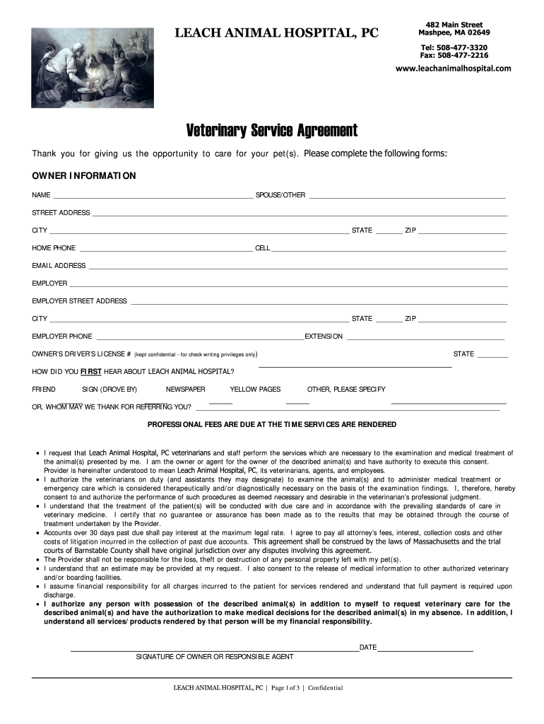 Get And Sign ANIMAL HOSPITAL OF SUSSEX COUNTY, INC Form