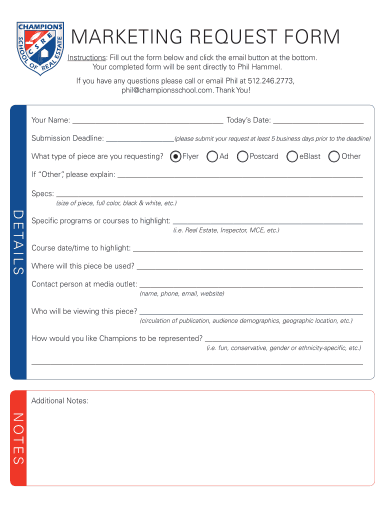 Get And Sign MARKETING REQUEST FORM  Fill Any PDF Form