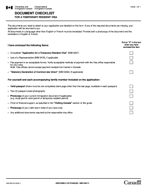 IMM 5484 - Document Checklist for a Temporary Resident Visa form