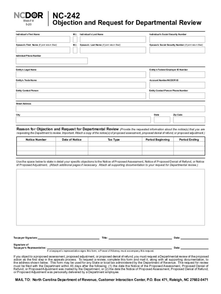 Get And Sign Objection And Request For Departmental Review NC 242 2020-2021 Form