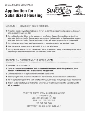 Application for Subsidized Housing - County of Simcoe form