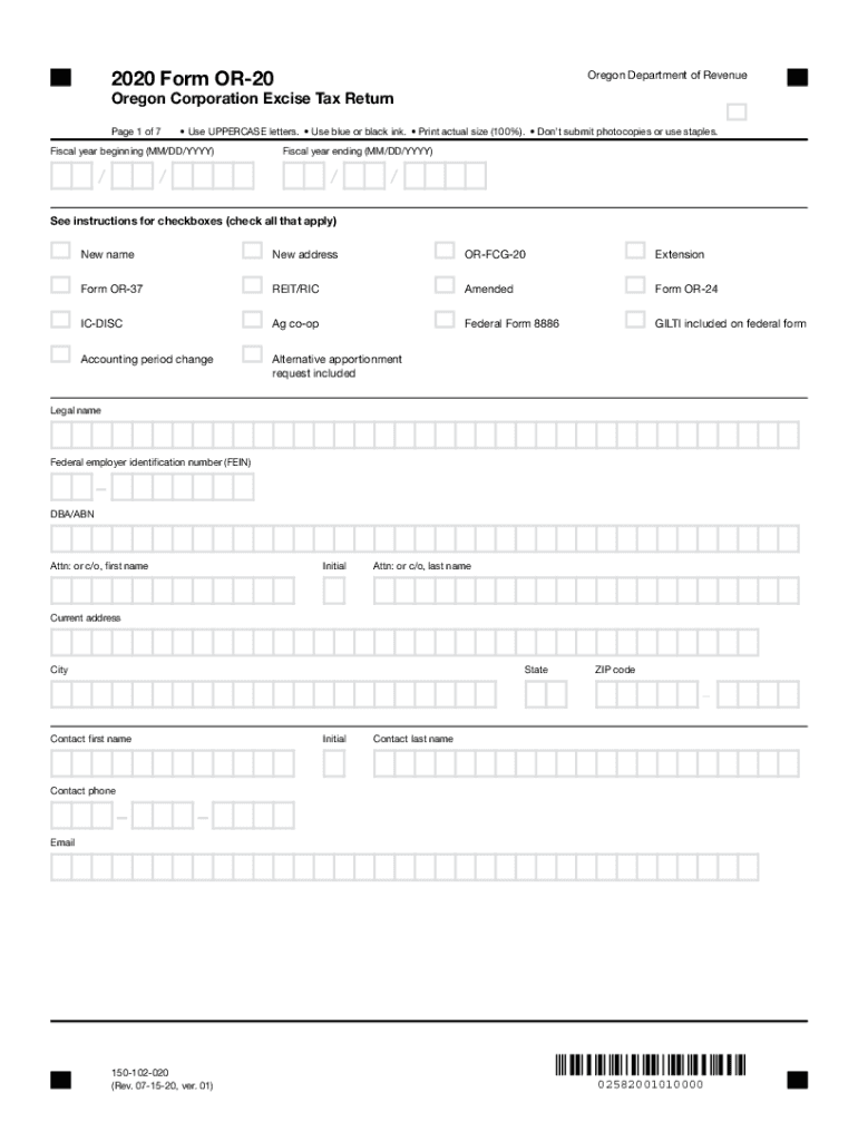Get And Sign Form OR 20, Oregon Corporation Excise Tax Return 2020-2021