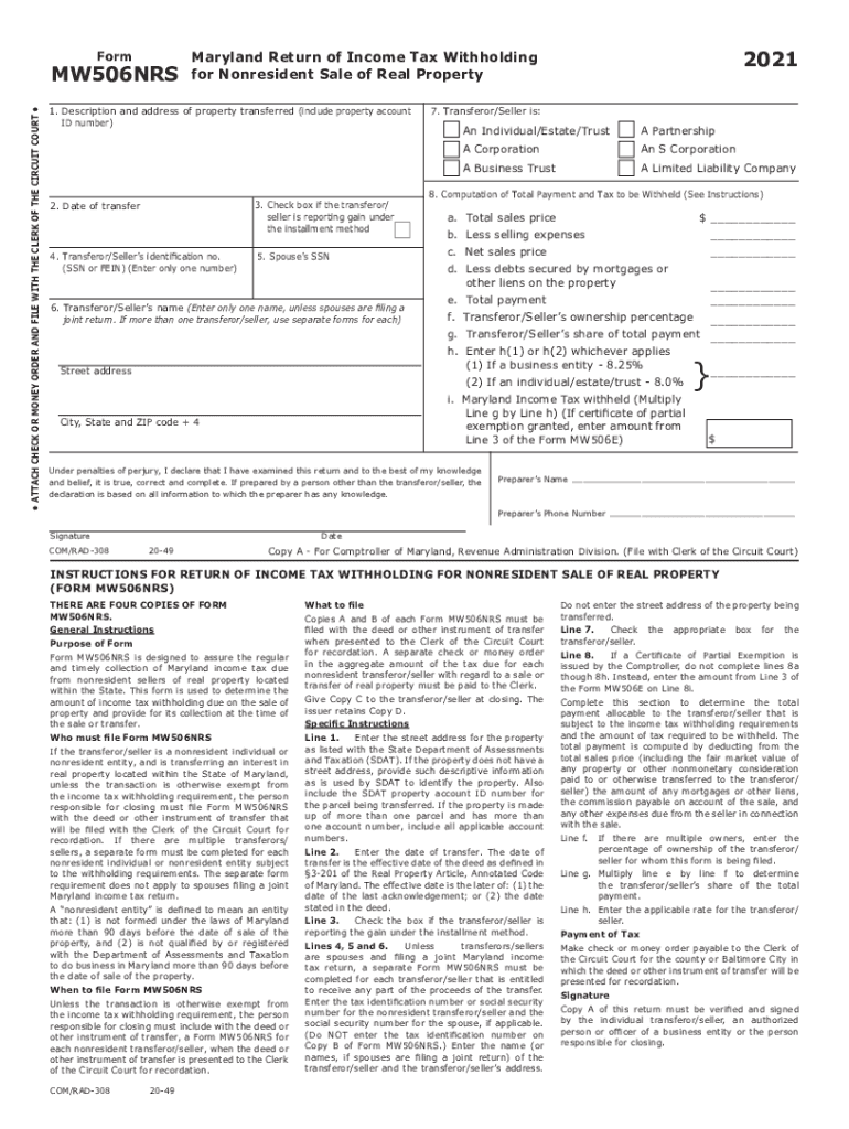 Get And Sign Tax Year Form MW506NRS Maryland Return Of Income Tax Withholding 2021