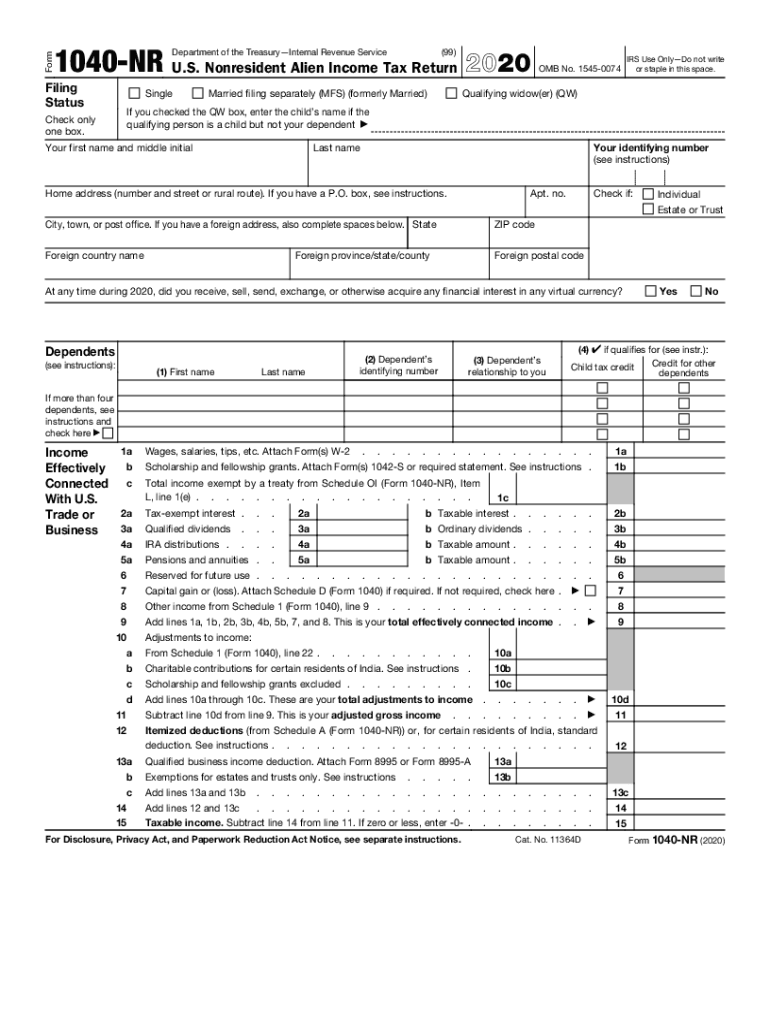 Get And Sign About Form 1040 NR, U S Nonresident Alien Income Tax Return 2020-2021