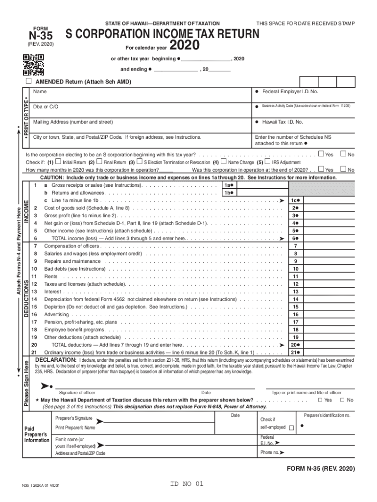 Get And Sign Form N 35, Rev , S Corporation Income Tax Return Forms Fillable 2020-2021