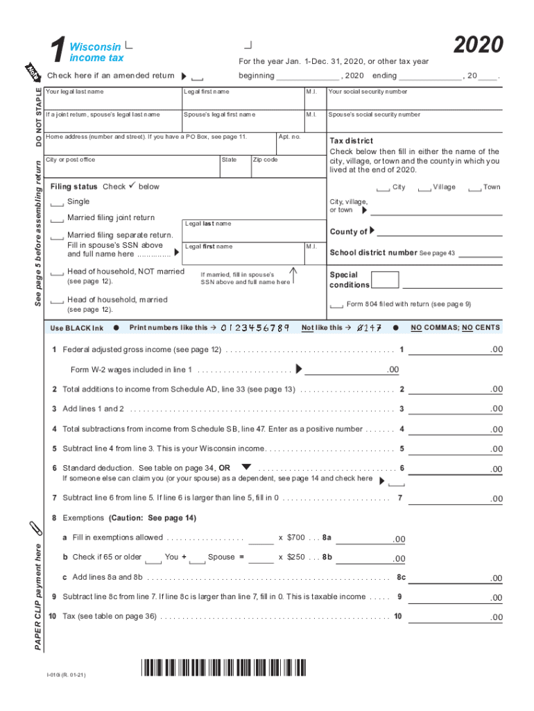 Get And Sign I 010 Form 1, Wisconsin Income Tax fillable 2020-2021