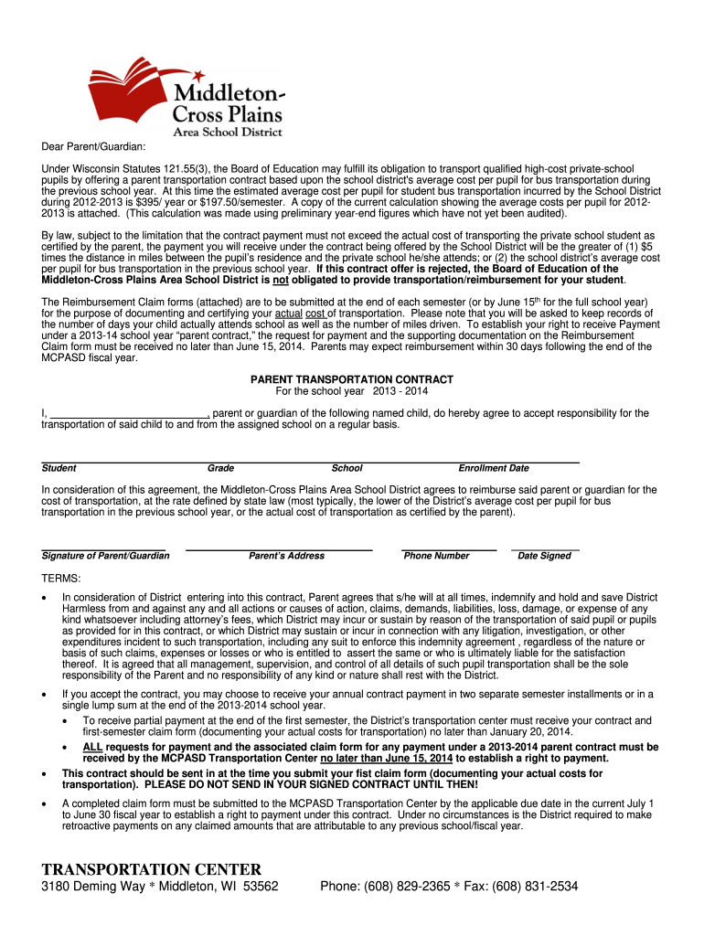 Get And Sign Transportation Center Middleton Cross Plains Area School District Mcpasd K12 Wi 2013-2021 Form