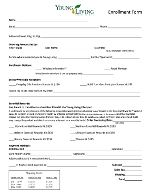 young living order form pdf  Young living enrollment form - Fill Out and Sign Printable ...