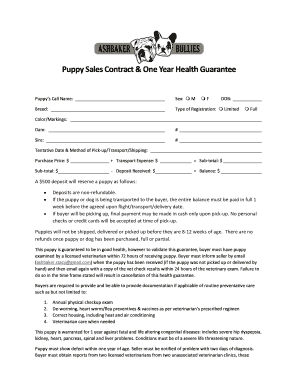 Puppy Contract Template Pdf Fill Out And Sign Printable
