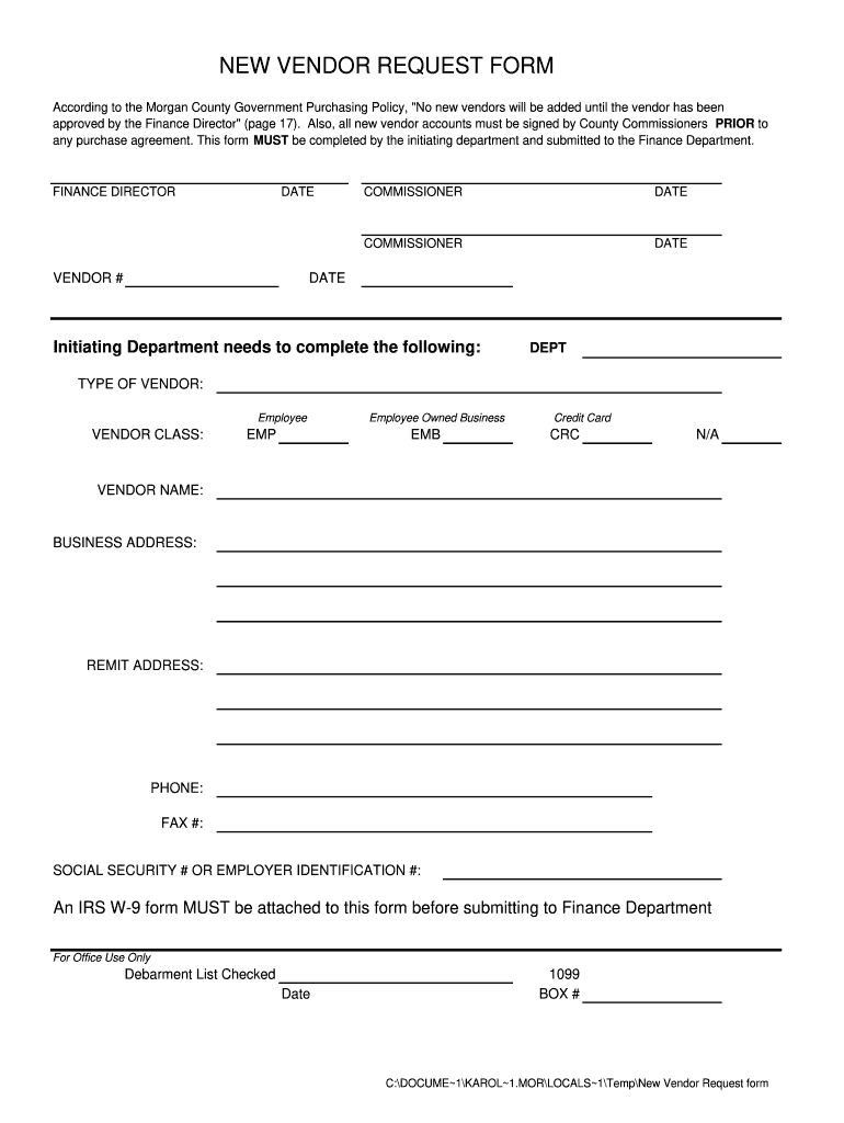 Vendor Request Form Fill Out And Sign Printable Pdf Template Signnow