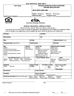 Charlotte Public Housing Application Fill Out And Sign Printable Pdf Template Signnow