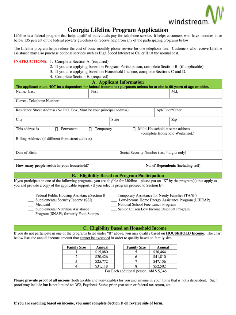 Get And Sign Windstream Lifeline Form