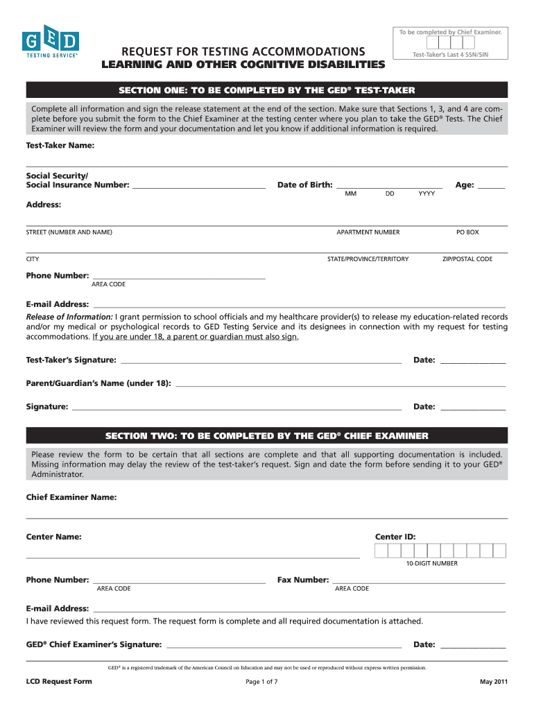 Get And Sign Ged Lcd Request Form California 2011-2021