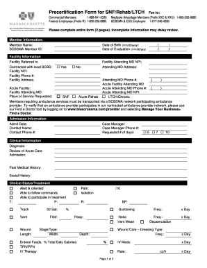 Get And Sign Precertification Form For SNFRehabLTCH Fax To 2012-2021