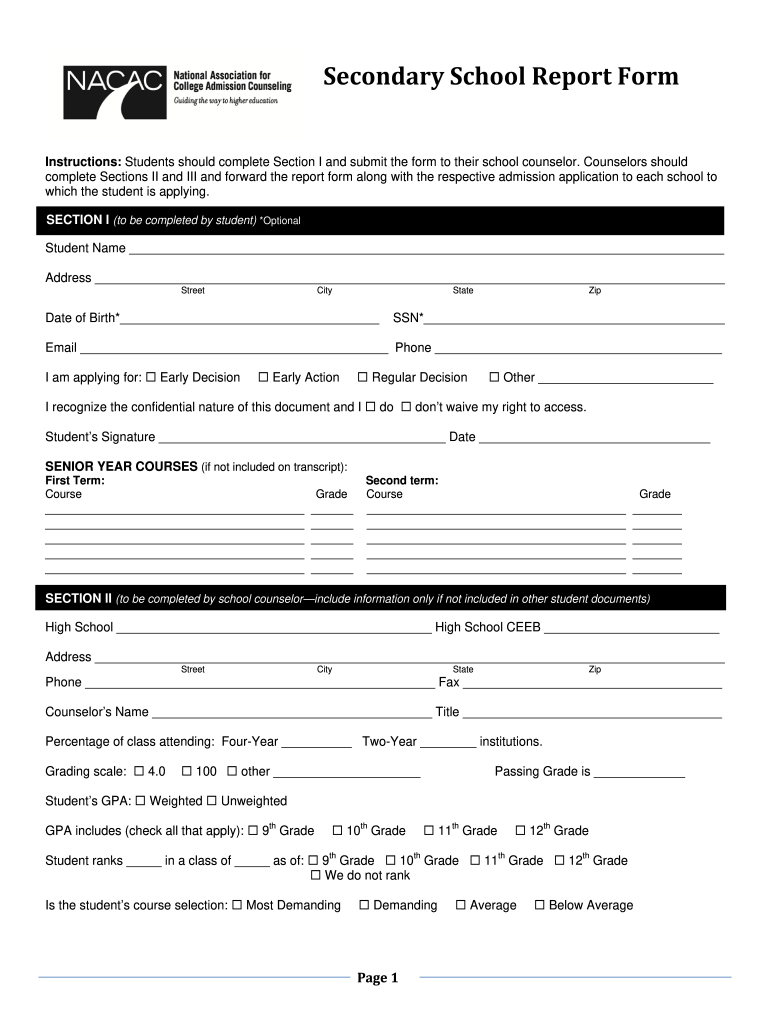 fillable report card secondary school  fill out and sign