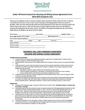 Under 18 Consent Form Housing Wayne State University Housing