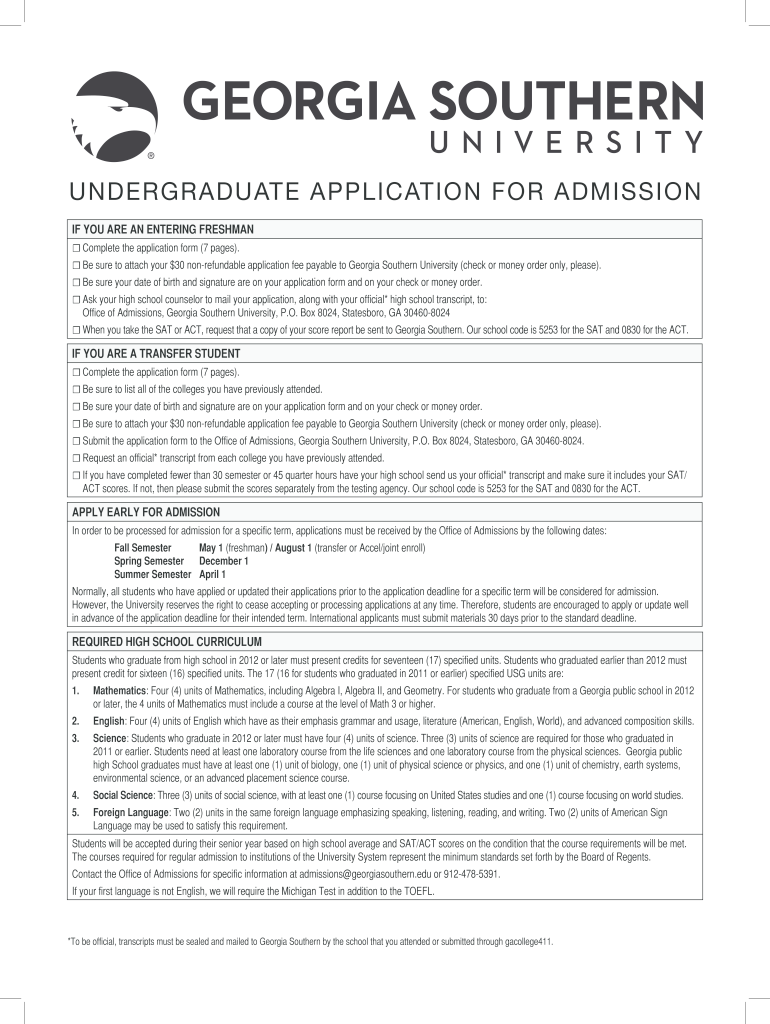 Get And Sign Georgia Southern Application Form