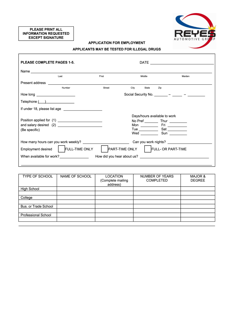 Get And Sign Automotive Shop Employee Application Form