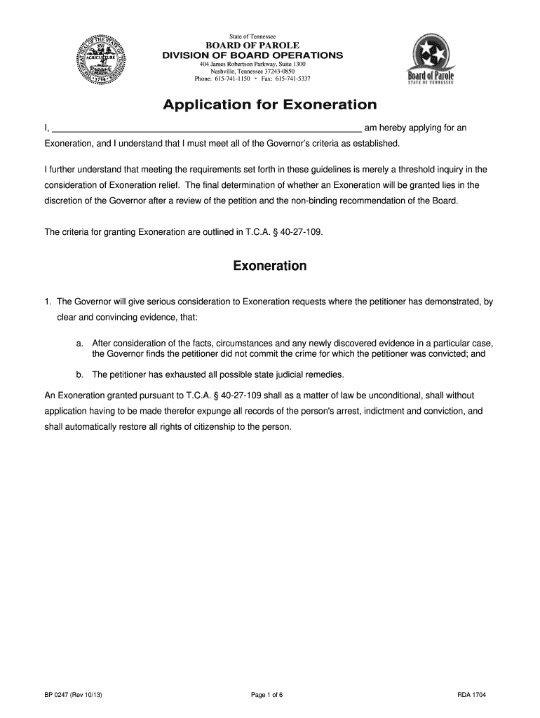 Get And Sign Application For Exoneration  TN gov  Tn Form