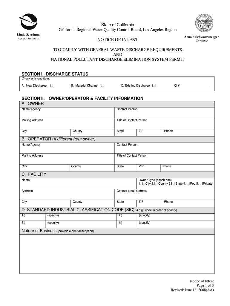 Get And Sign Los Angeles Regional Water Quality Control Board Noi Form 2008-2021
