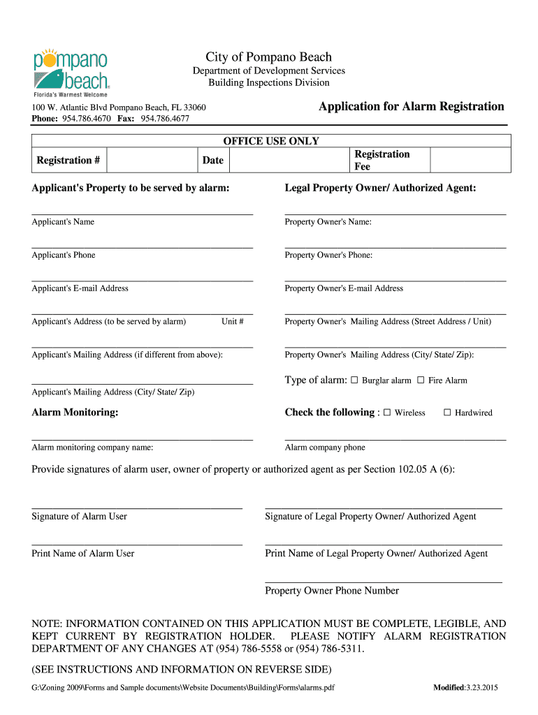 Get And Sign City Of Pompano Beach Alarm Registration 2015-2021 Form