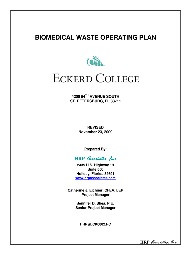 Get And Sign Biomedical Waste Operating Plan 2009-2021 Form