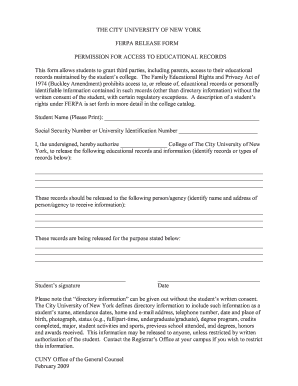 ferpa form hunter college  Cuny ferpa release form - Fill Out and Sign Printable PDF ...