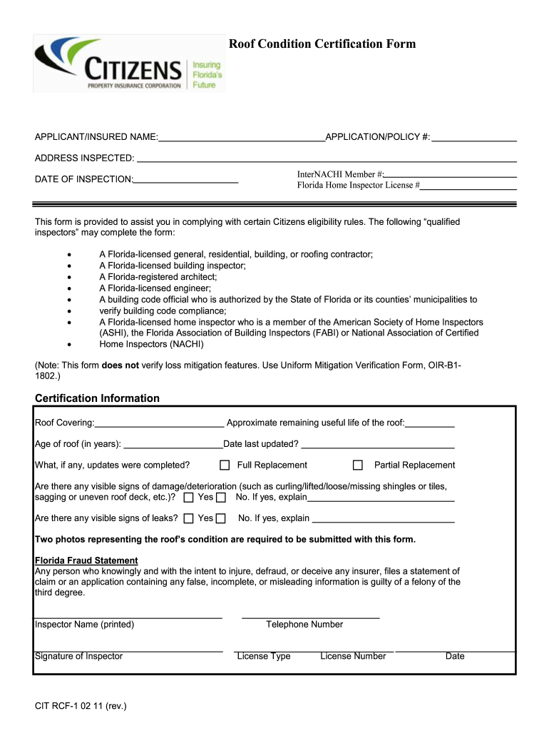Roof Certification Form Fill Out And Sign Printable Pdf Template Signnow