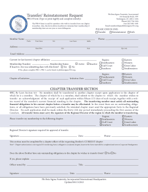 Get And Sign Transfer Reinstatement Request PBS 8 Form Type Or Print Legibly And Complete Entirely 145 Kennedy Street, NW Washington, DC 2001 2013-2021