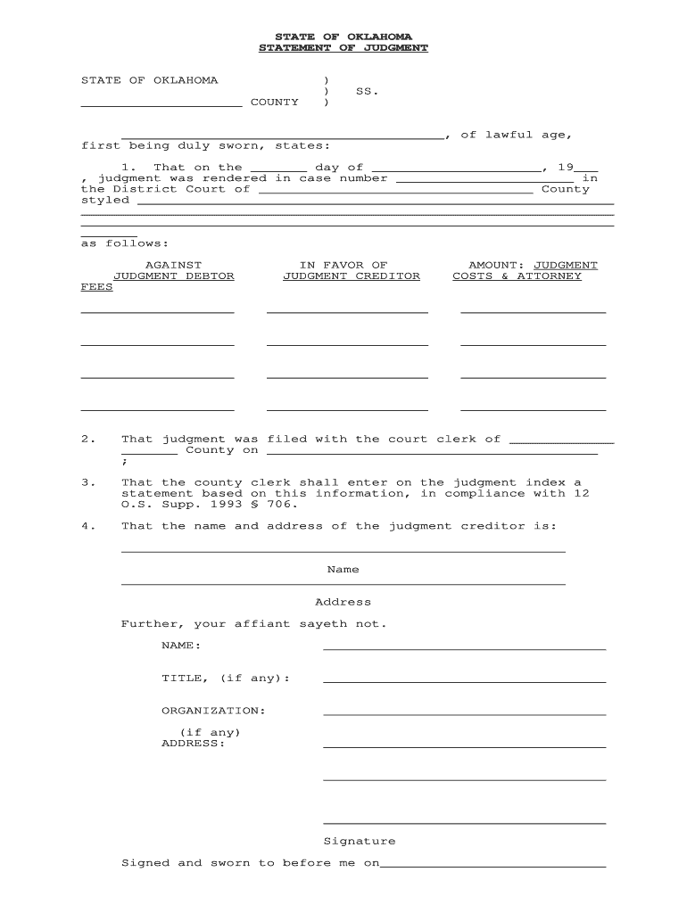 Get And Sign Statement Of Judgment Oklahoma Form