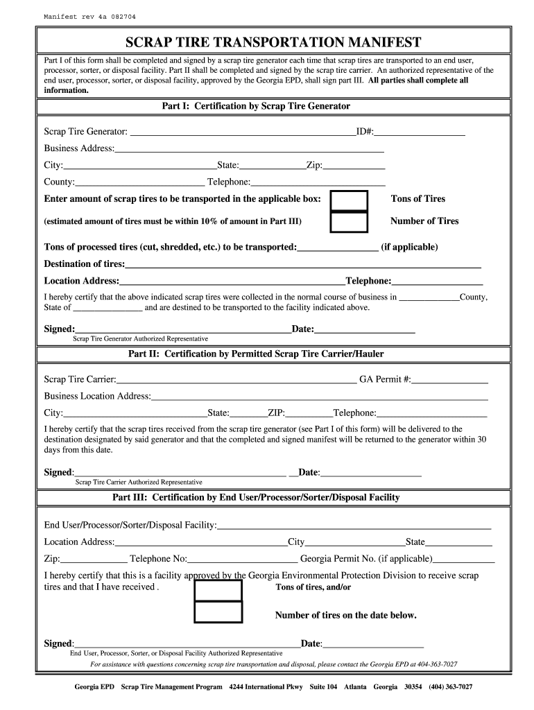 Get And Sign Transportation Manifest Template 2004-2021 Form