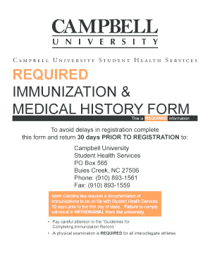 Get And Sign Campbell University Immunizations Form