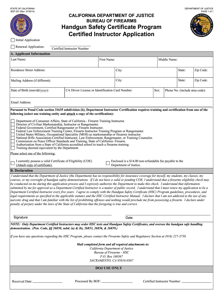 form safety certified certificate bof instructor california firearm handgun printable signnow forms template application oag enforcement law blank pdffiller