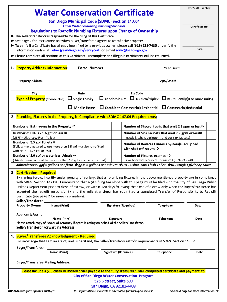 Get And Sign Diego Water Conservation 2013-2021 Form