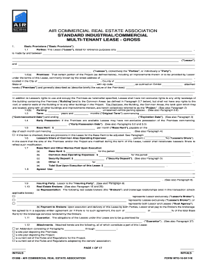 Air Commercial Real Estate Lease Forms 2014 2019 Fill Out