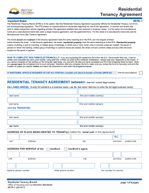 Rtb 1 Residential Tenancy 2014 2019 Form Fill Out And Sign