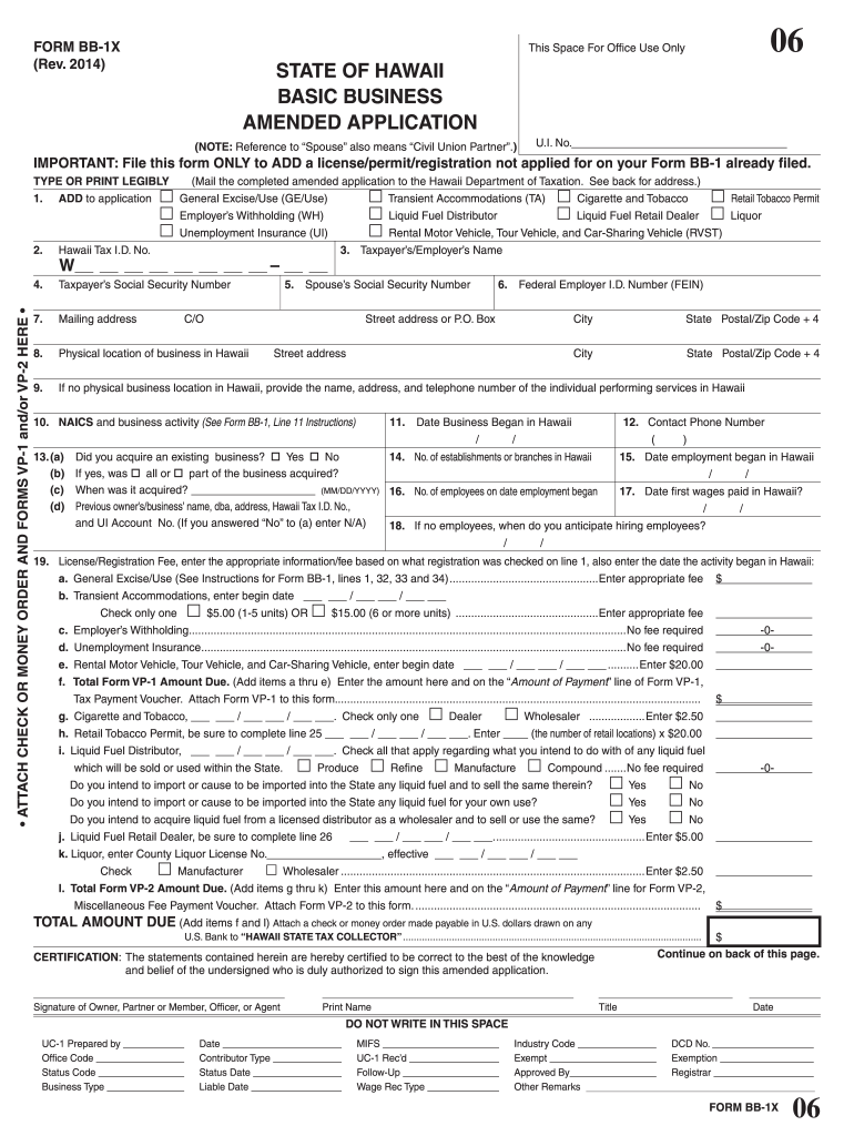 Get And Sign Form BB 1X Rev State Of Hawaii Basic Business    Hawaii gov 2014-2021